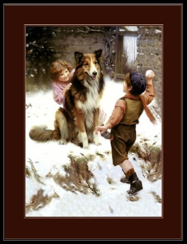 Picture Print Collie Shepherd Lassie Dog and Children Art (Collie Pictures compare prices)