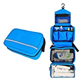 Hanging Toiletry Bag Travel Organizer for Men & Women Multifunctional Cosmetic Bag Waterproof Makeup Pouch with Hanging Hook for Personal Care Hygiene in Home Hotel Travel (Blue)