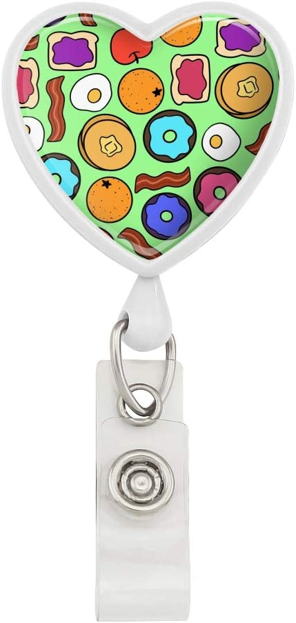 Fun Breakfast Foods Pattern Heart Lanyard Retractable Reel Badge ID Card Holder