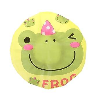 Gorro de ducha de goma EVA impermeable para niños, diseño de rana ...