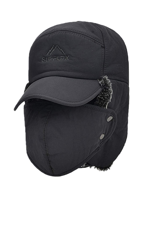 Nimpansa Unisex Waterproof Baseball Cap Trapper Hunter Hat Earflap Mask CANM47C5-Black-F