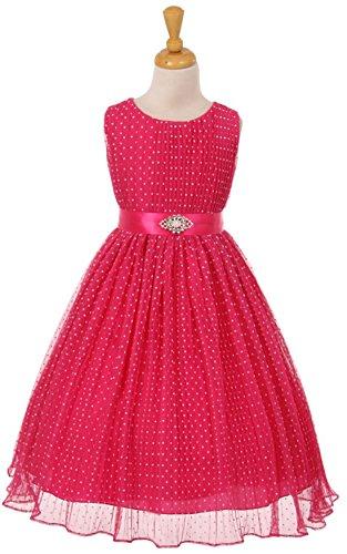 Flocked Polka Dot Mesh - Kiki Kids Crinkle Mesh Flocked Polka Dot Dress with Stone Pin Fuchsia Size 2