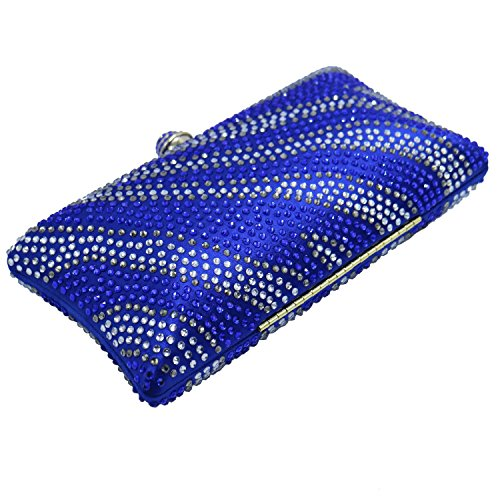 Evening and Wave Prom Blue Royal Wedding Crystal DMIX Bridal Bag for Womens Clutches wqaHnS1OIt