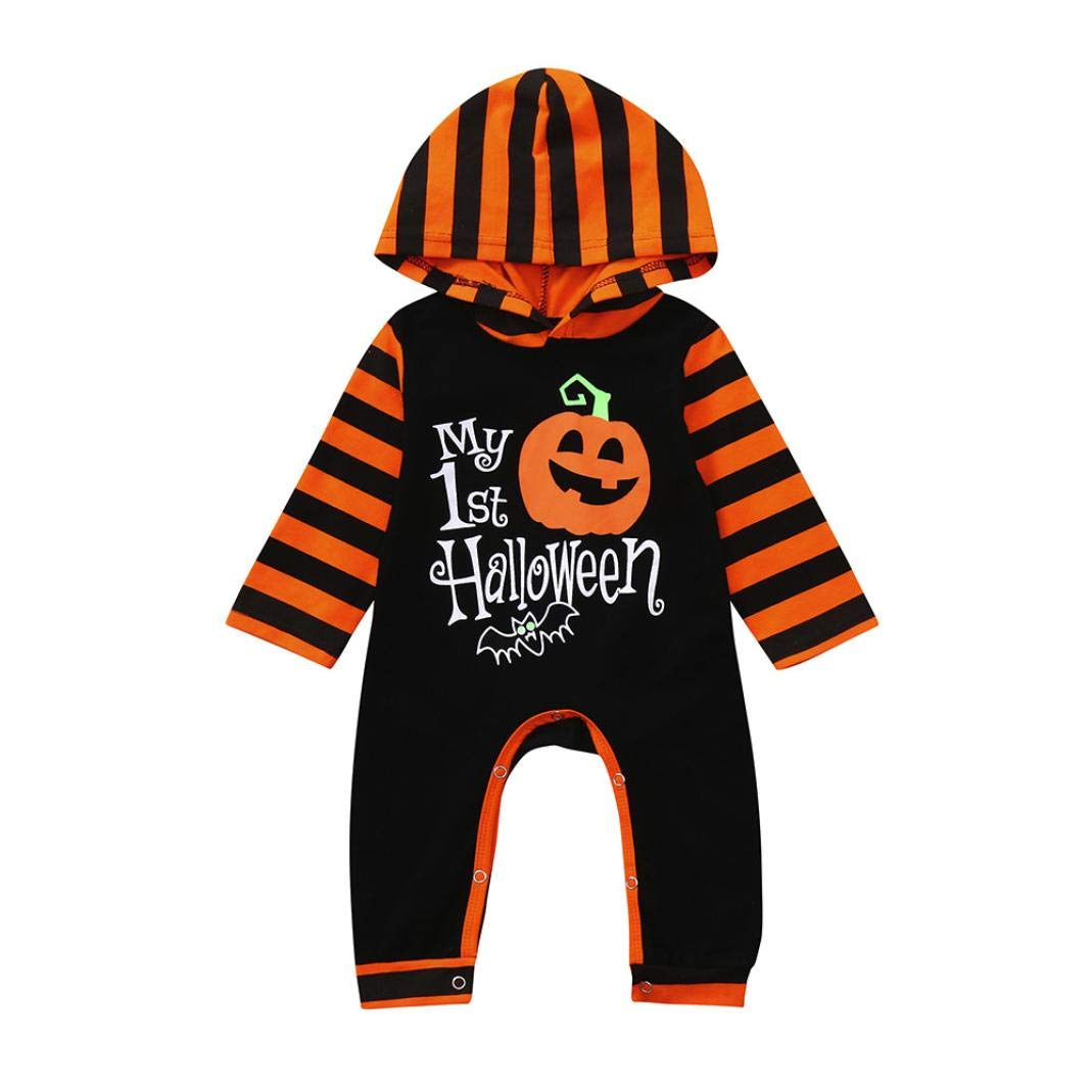 Sameno Newborn Baby Halloween Jumpsuit Boy Girl Long Sleeved Pumpkin Print Striped Romper Outfit Clothes