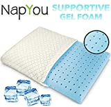 NapYou Amazon Exclusive Ventilated Cooling Gel Memory Foam Bed Pillow with AirCell Technology & Cool Washable Cover