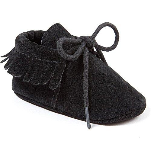 R&V Unisex Infant Baby Boys' Girls' Moccasins Soft Sole Tassels Prewalker Anti-Slip Toddler Shoes (L:12~18 Months, Bandage Black) -