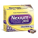 Nexium 24HR (42 Count, ClearMinis) All-Day, All-Night Protection from Frequent Heartburn Medicine with Esomeprazole Magnesium 20mg Acid Reducer, 38% Smaller Capsule