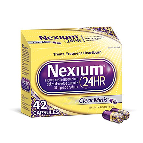 Nexium 24HR (42 Count, ClearMinis) All-Day, All-Night Protection from Frequent Heartburn Medicine with Esomeprazole Magnesium 20mg Acid Reducer, 38% Smaller Capsule (Best Medication For Burns)