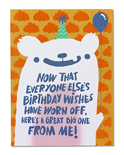 (American Greetings Funny Birthday Wishes Belated Birthday Greeting Card with Flocking)