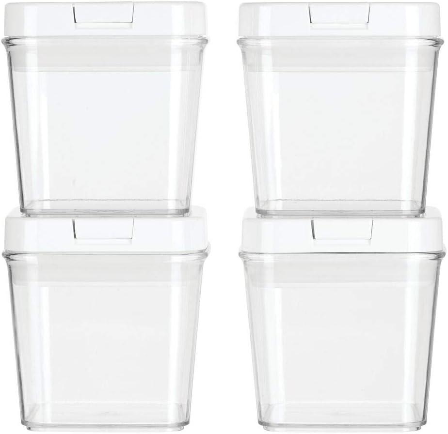 trasparente Comodi barattoli sale zucchero caff/è ideali in cucina mDesign Set da 4 Contenitori per alimenti con pratiche misure dispensa e frigo Pratici contenitori in plastica con coperchio