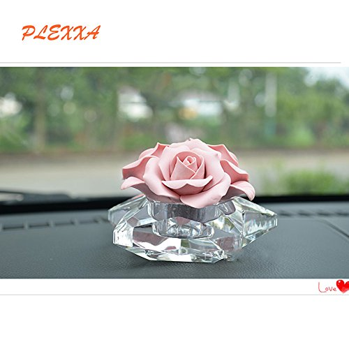 PLEXXA(TM) Fashion Flower shapes Crystal Car Perfume High Grade Fragrance Car Creative Crystal Perfume Seat Perfume Bottles Car Perfume Furnishing Articles Air Freshener (Rose flower)