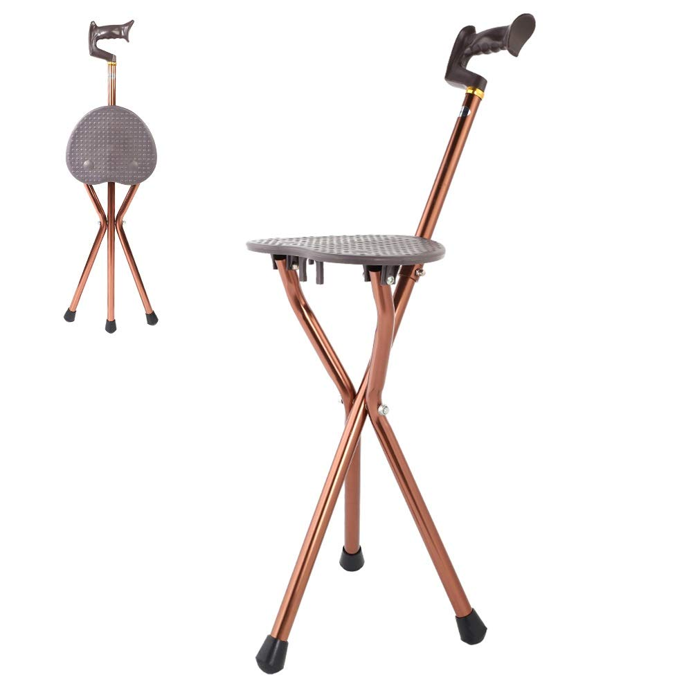 MAGT Metal Portable Folding Cane Stool Chair Best Health Cane Stool Golf Walking Seats Retractable Lightweight Walking Stick for Elderly Outdoor Travel Rest Stool by MAGT