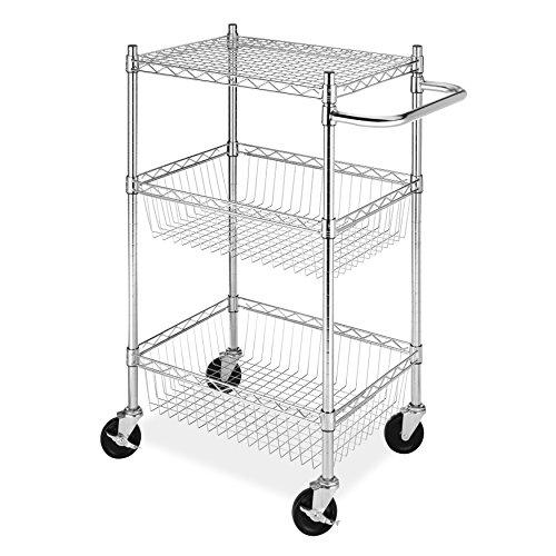 """18"""" Deep x 36"""" Wide x 39"""" High 2 Tier Chrome Wire Basket Shelf Cart"""