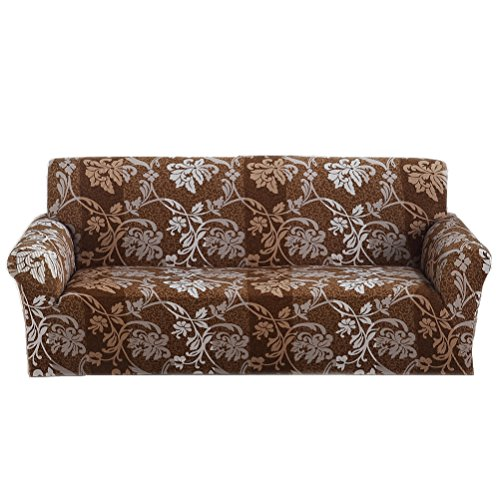ANJUREN 1-Piece Printed Stretch Slipcover Soft Furniture Shield Protector Covers Anti-wrinkle Slipcovers For Chair Loveseat Sofa Polyester Spandex Fabric Without Pillow (Love seat, Coffee Flower)