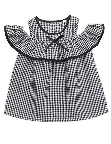 Feiterawn Toddler Baby Girls Plaid Dress Summer Cold Shoulder Lotus Short Sleeve Cotton Cute Short Mini Bowknot - Wash Hand Viscose