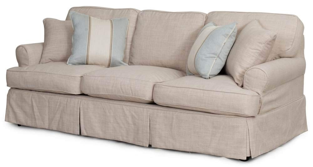 Amazon.com: Sunset Trading 85 in. Slipcovered Sofa in Linen ...