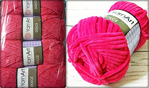 100% Micro Polyester Soft Yarn for Hand Knitting YarnArt Dolce Crochet Lace Embroidery Art Crafts Sewing Kit Baby Blanket Yarn Plush Lot of 4skn 400gr 524yds Color Bright Raspberry 759