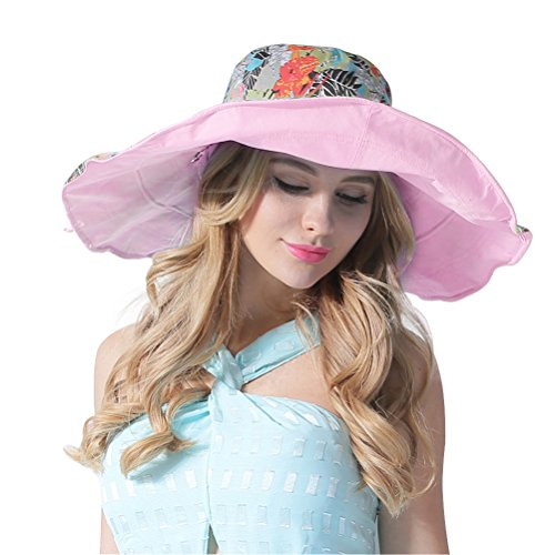 Floppy Printed Hat (RIONA Women's UPF 50+ Foldable Floppy Reversible Wide Brim Sun Beach Hat with Bowknot(Pink))