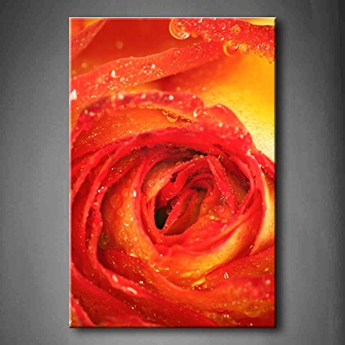 Crystal Emotion Yellow Orange Yellow And Red Rose With Rain Drops Wall Art Painting Pictures Print On Canvas Flower For Home Modern Decoration 8x12inch