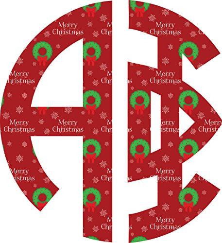 Alpha Phi Merry Christmas Printed Monogram Sorority Sticker Decal 3 Inch Holiday Greek for Window Laptop Computer Car A - Tags Printable Christian Christmas