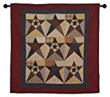 Primitive Star Wall Hanging Quilt 44 Inches by 44 Inches 100% Cotton Handmade Hand Quilted Heirloom Quality