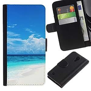Planetar® Modelo colorido cuero carpeta tirón caso cubierta piel Holster Funda protección Para SAMSUNG Galaxy S4 IV / i9500 / SGH-i337 ( Caribbean White Sand Paradise Beach )
