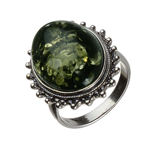 HolidayGiftShops Sterling Silver and Baltic Green Amber Classic Oval Ring size: 7.5