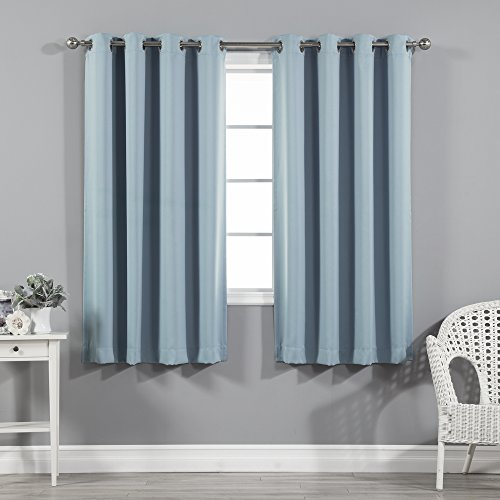 Best Home Fashion Thermal Insulated Blackout Curtains - Stainless Steel Nickel Grommet Top - Ocean - 52