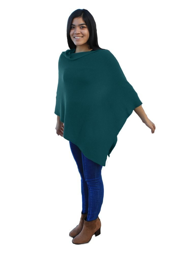 Emji 100% Cashwool® Merino Wool Ribbed-Knit Poncho, Luxury Pullover Poncho with 2x1 Rib Knit Pattern, Dark Teal