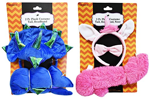 Boo Monsters Inc Halloween Costume (Set of 2 Adorable Plush Costumes! 3 Piece - 2 Piece - Unicorn, Dinosaur, Giraffe, and Puppy Dog! Adorable for Children or Adults! (2, Dinosaur & Unicorn))