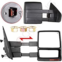 Autodayplus Fit 2007-14 Ford F150 Truck Driver/Passenger Side Mirror Power Heated Turn Signal Puddle Light Towing Mirrors Pair