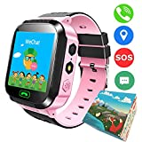 TDH Kids GPS Smartwatch,1.44 inch Touch Anti-lost Smart Watch for Children Girls Boys with Camera SIM Calls SOS Smartwatch Bracelet (Pink)