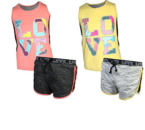 'Girl's 4-Piece Fashion Active Short Sets, Love, Size 10/12' by dELiA*s