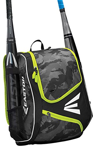 EASTON E110YBP Youth Bat & Equipment Backpack Bag | Baseball Softball | 2019 | ION Yellow | 2 Bat Sleeves | Smart Gear Storage | Valuables Pocket | Rubberized Zipper - Kids Easton Bag