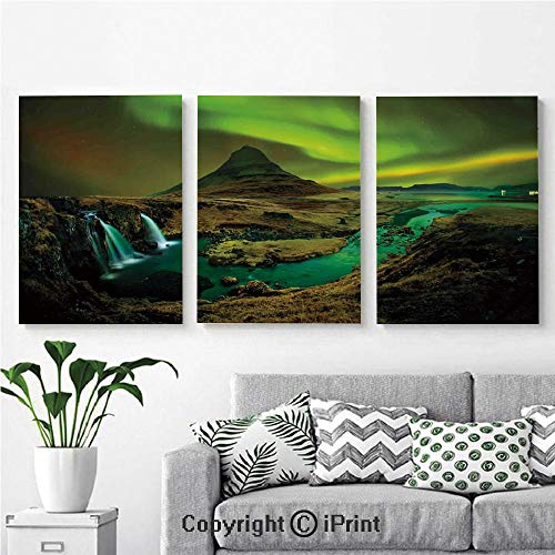 - Modern Salon Theme Mural Pale Weather Over The Hills with Waterfall Creek Nature Landscape Painting Canvas Wall Art for Home Decor 24x36inches 3pcs/Set, Fern and Olive Green