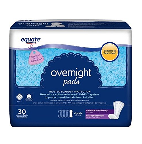 Equate Overnight Pad Ultimate, Extra Protection, 30 Contoured Pads (Compare to Tena Pads) (Pack of 2)