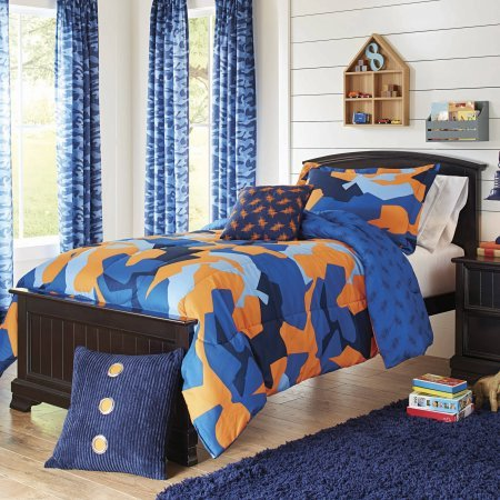 Super Soft and Cute Better Homes and Gardens Kids Camo Navy Bedding Comforter Set, Blue/Orange,Full/Queen from Restino