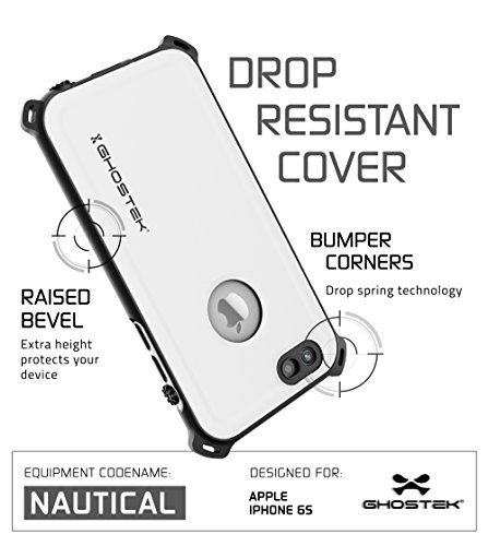 iPhone 6S Waterproof Case, Ghostek Nautical Series for Apple iPhone 6 & 6S (White)