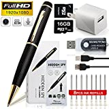 minicute HD 1080p Hidden Camera Spy Pen Bundle with 16Gb C10 Micro SD Card, 8 Ink Fills, Card Adapter and Card Reader