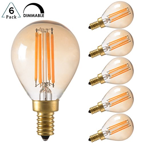 D Filament Light Bulb, Dimmable, 2200K Ultra Warm White, E12 Candelabra Base, G45/G14 Amber Glass Globe Cover, Antique Gold Tint, 40W Incandescent Replacement, Pack of 6 (Amber Glass Covers)