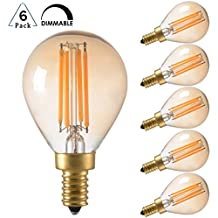 4W Vintage Edison LED Filament Light Bulb, Dimmable, 2200K Ultra Warm White, E12 Candelabra Base, G45/G14 Amber Glass Globe Cover, Antique Gold Tint, 40W Incandescent Replacement, Pack of 6
