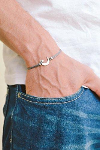 Men's bracelet, silver crescent moon charm, gray cords, bracelet for men, gift for him, moon star bracelet, clasp, mens ()