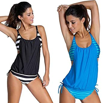 6d2ba5d8cde27 Pcongreat 2019 Hot Womens Stripes Lined up Double up Tankini Top Sets  Swimwear Black