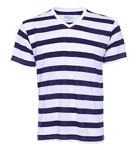 Mens Short Sleeve V-Neck Stripeed T-Shirts (Large, White-Purple)