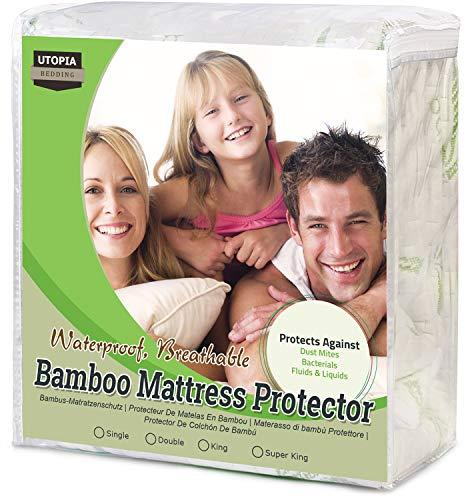 Utopia Bedding Protector de colchón Impermeable de bambú Funda de colchón hipoalergénica y Ajustable (180 cm x 200 cm x 30 cm)