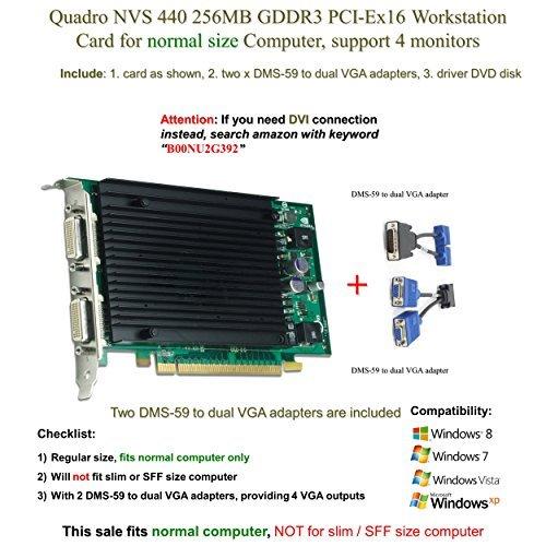 Quadro Nvs 440 256Mb Gddr3 Pci Ex16  Support 4 Monitor  Vga Connection