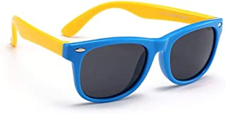 Beito Silicone Kid's Sunglasses UV Proof Sunnies Colorful Polarizing Cat's Eye Sunglasses for Boys Girls Age 3-12 (Sapphire Blue Yellow)