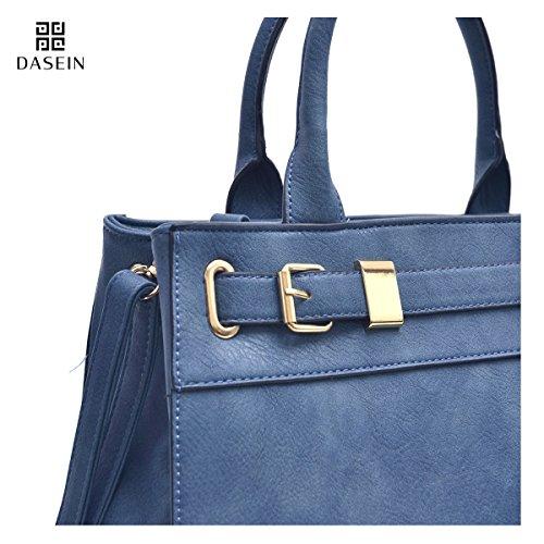 Dasein Women Designer Satchel Handbags Purses Shoulder Bag Work Briefcase with Matching Wallet Set