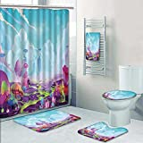 SOCOMIMI 5 Piece Bath Set:1 Large Bat Mat 1 Contour Mat 1 Bath Towel, A Mystery Wonderland Realistic Fantastic Cartoon Style Artwork Scene,Wallpaper Pattern printing suit