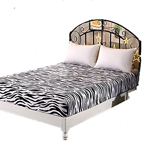 """Cheap KFZ Plain Fitted Sheet Bedsheet Without Pillow Covers Used for Bedding Duvet Cover Set Microfiber JS Twin Full Queen for Single Double Bed Solid Plain Color 1 Piece Only (Zebra, Twin 47""""x79"""")"""